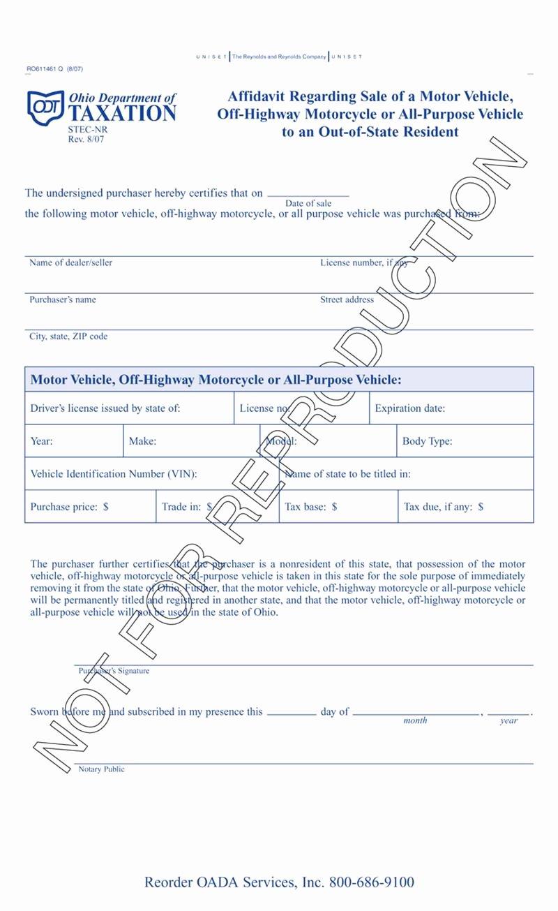Affidavit Of assignment Beautiful Affidavit Regarding Sale Motor Vehicle Out State