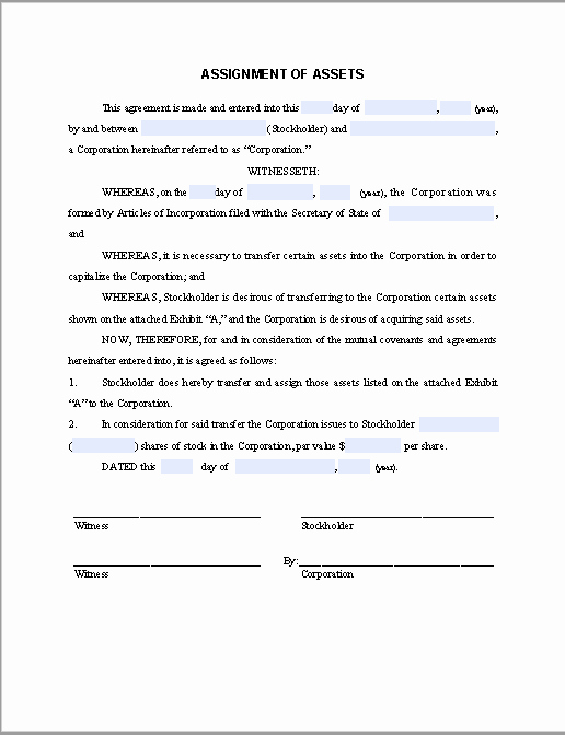 Affidavit Of assignment Beautiful form for assignment Of assets Agreement