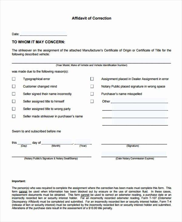 Affidavit Of assignment Elegant 8 Correction Affidavit form Free Sample Example