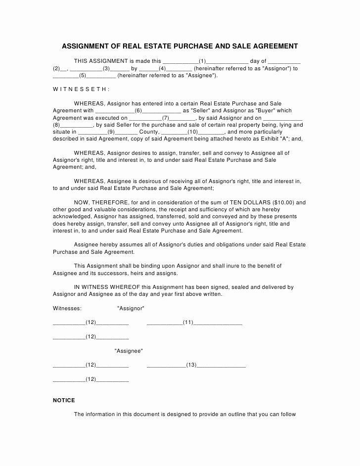 Affidavit Of assignment Elegant assignment Of Real Estate Purchase and Sale Agreement