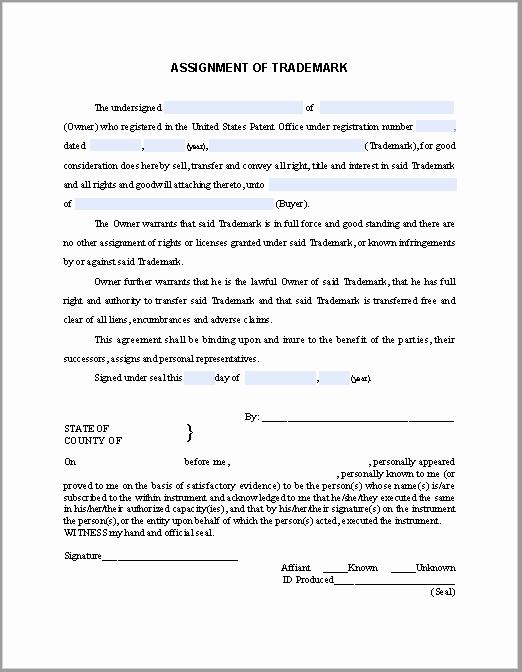 Affidavit Of assignment Fresh Trademark assignment Certificate Template