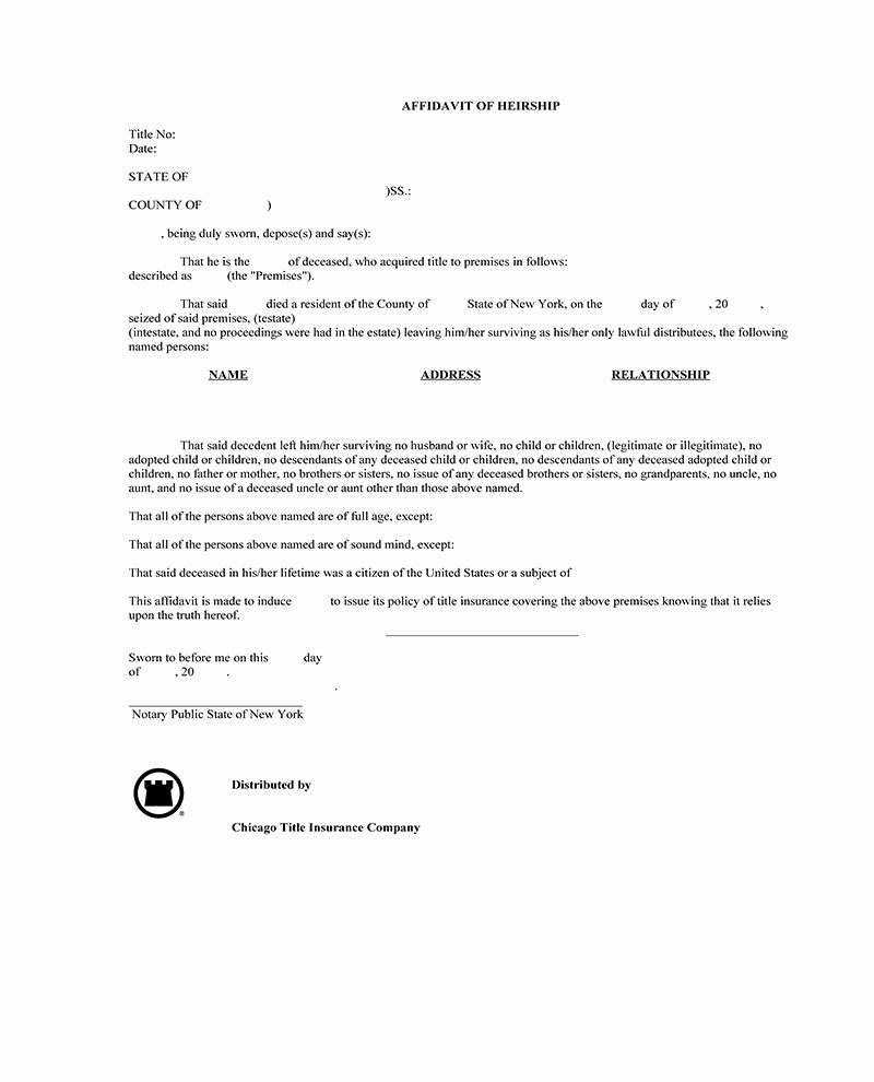 Affidavit Of assignment Inspirational Ny Abstract Pany forms