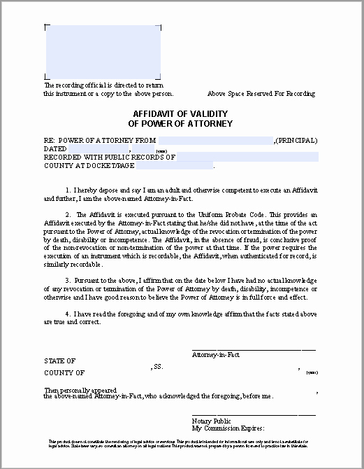 Affidavit Of assignment Lovely Affidavit Of Validity Of Power Of attorney Free Fillable
