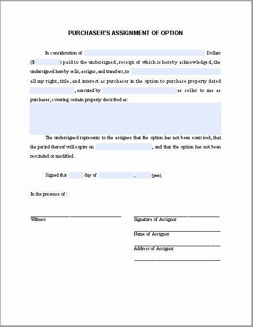 Affidavit Of assignment Lovely Purchasers assignment Of Option Notice