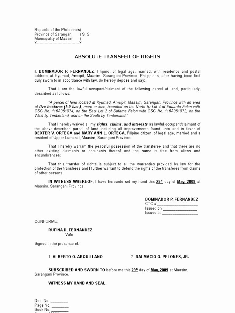Affidavit Of assignment Luxury Absolute Transfer Of Rights Sample Mon Law