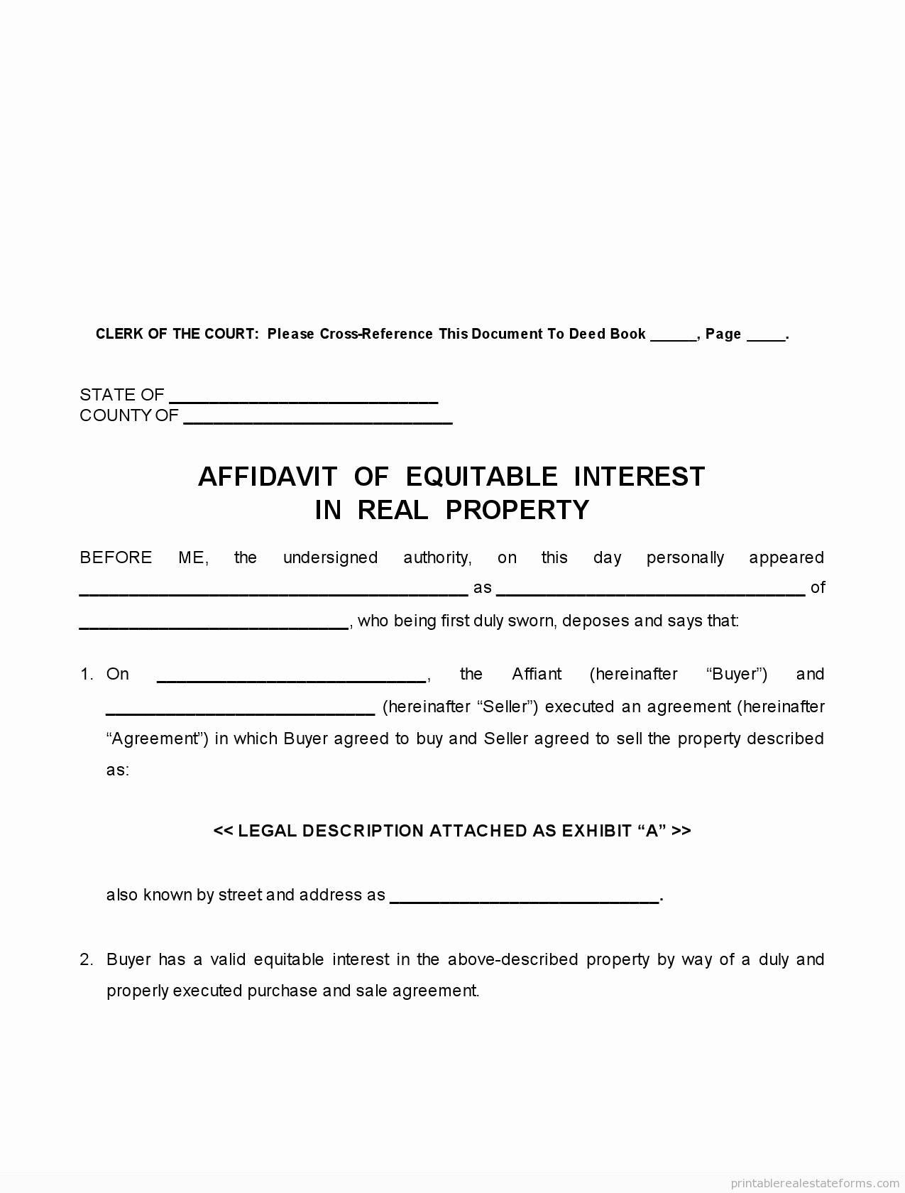 Affidavit Of assignment Luxury Affidavit Equitable Interest form Free Printable