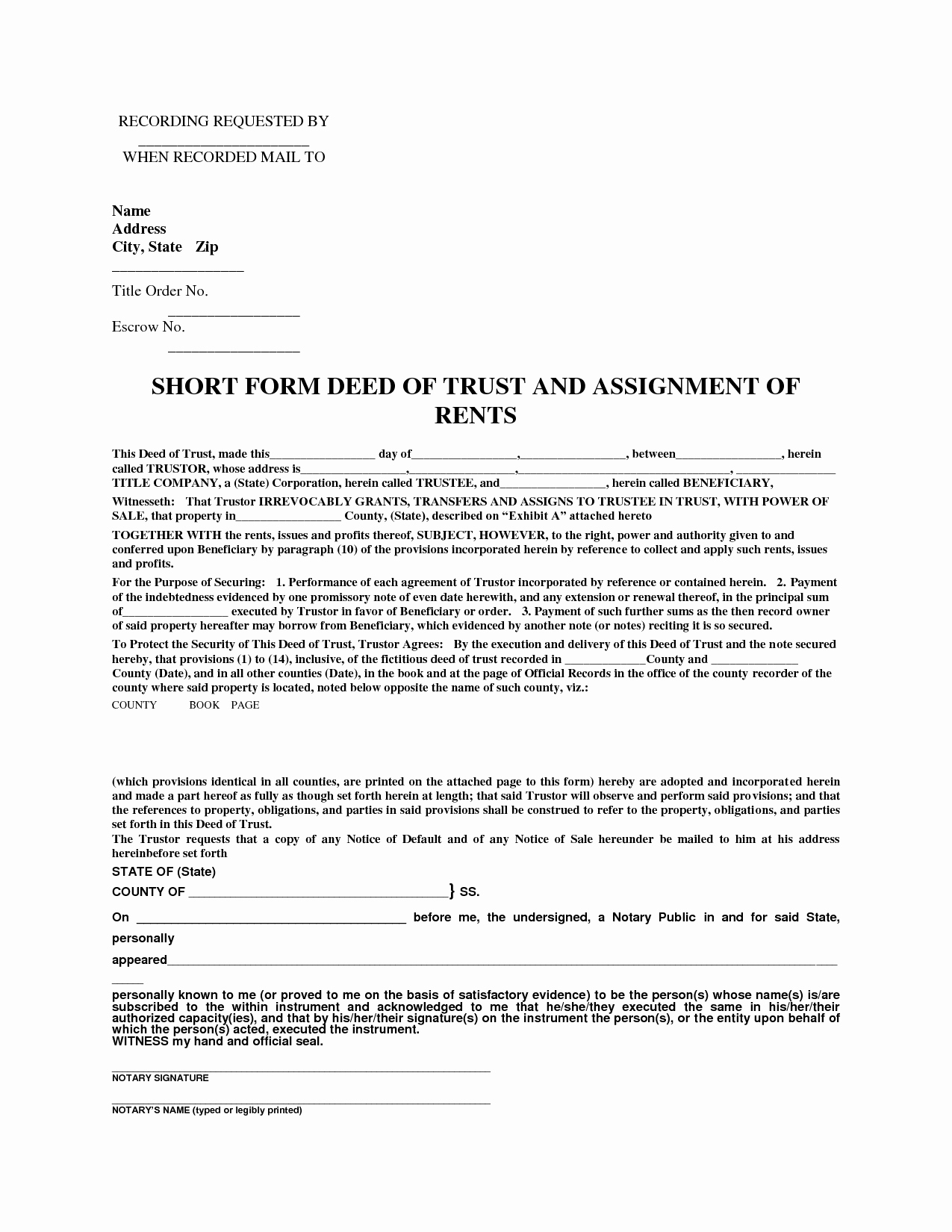 Affidavit Of assignment Luxury Short form Deed Of Trust & assignment Of Rents by