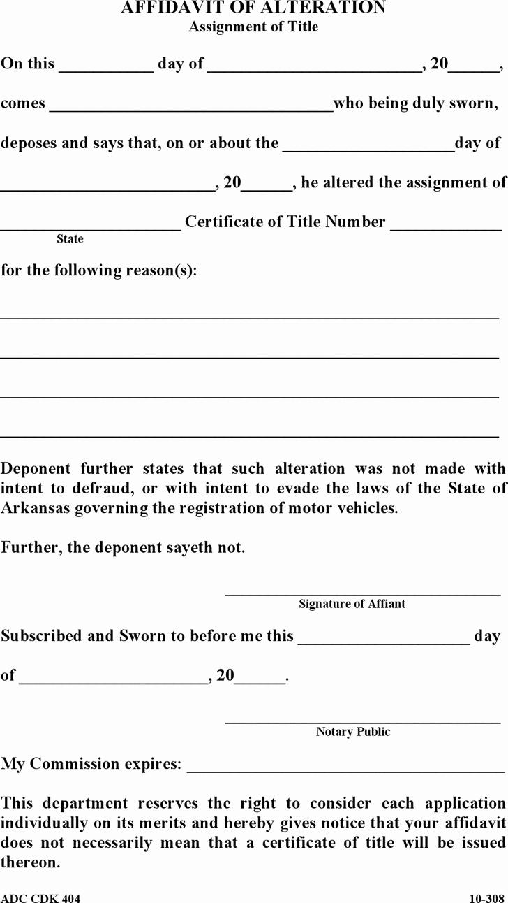 Affidavit Of assignment New Free Arkansas Affidavit Of Alteration form Pdf 7kb