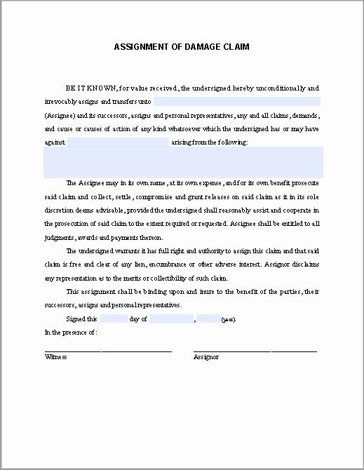 Affidavit Of assignment Unique assignment Of Damage Claim