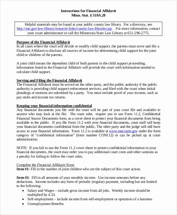 Affidavit Of Support Example Letters Awesome 10 Affidavit Of Support Samples and Templates Pdf Word