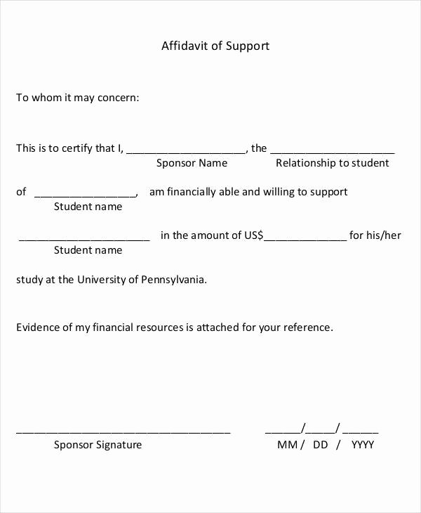 Affidavit Of Support Example Letters Elegant 22 Letter Of Support Samples Pdf Doc