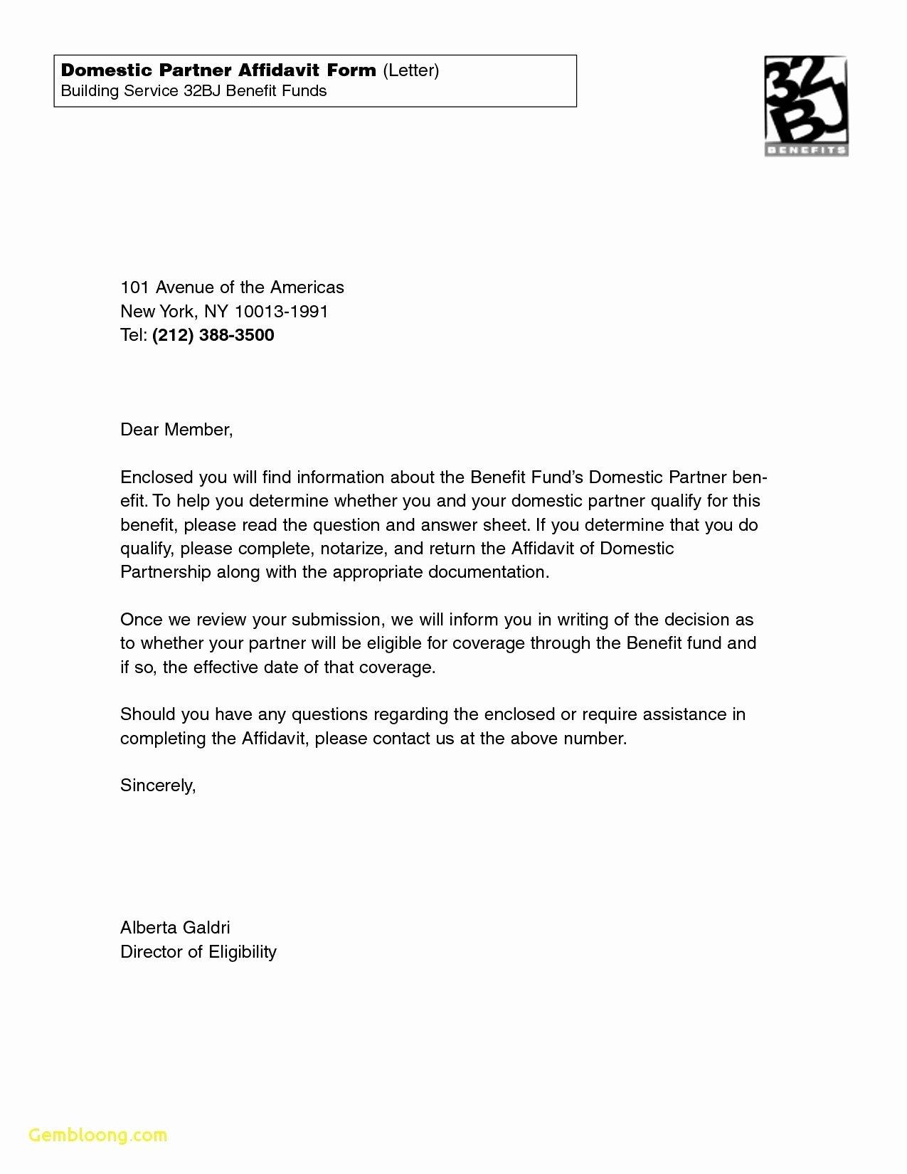 Affidavit Of Support Example Letters Fresh Affidavit Letter Template Marriage Sworn Sample Free for