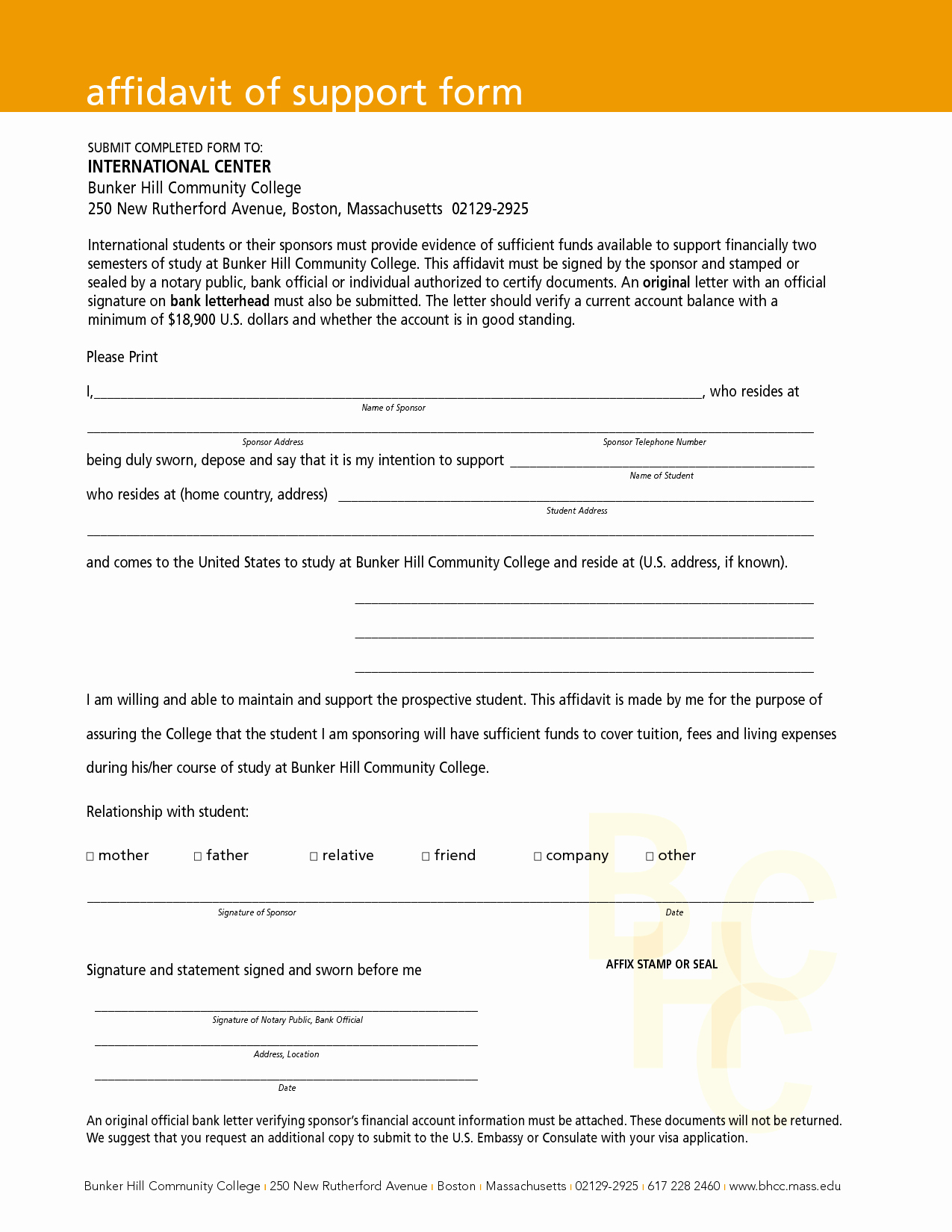 Affidavit Of Support Example Letters Fresh Free Download Affidavit Of Support form with orange Header