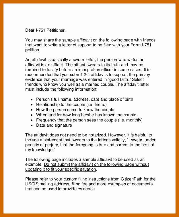 Affidavit Of Support Example Letters Luxury 5 6 Affidavit Letter Sample