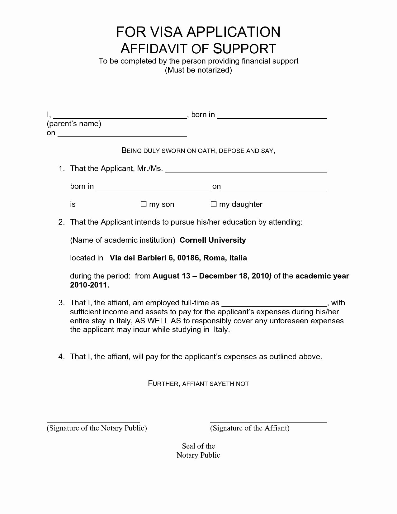 Affidavit Of Support Example Letters New Affidavit Support Template Letter Bluemooncatering