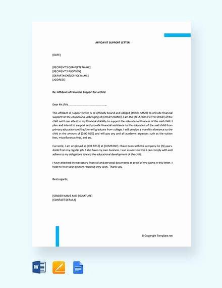 Affidavit Of Support Example Letters Unique 12 Affidavit Samples Doc Pdf