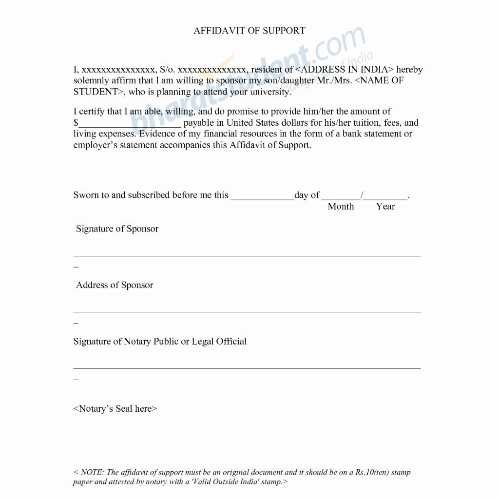 Affidavit Of Support Letter Awesome Proper Affidavit Support Letter – Letter format Writing