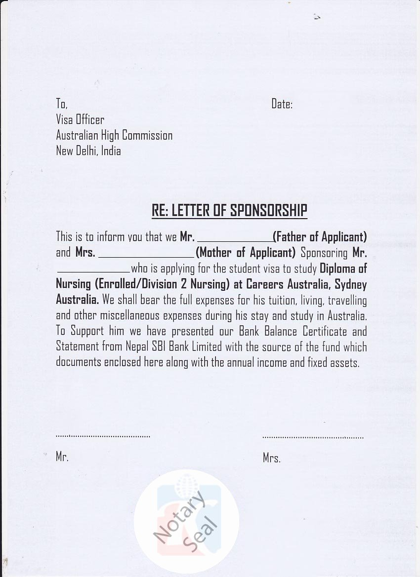 Affidavit Of Support Letter New Sponsorship Certificate Affidavit Of Support