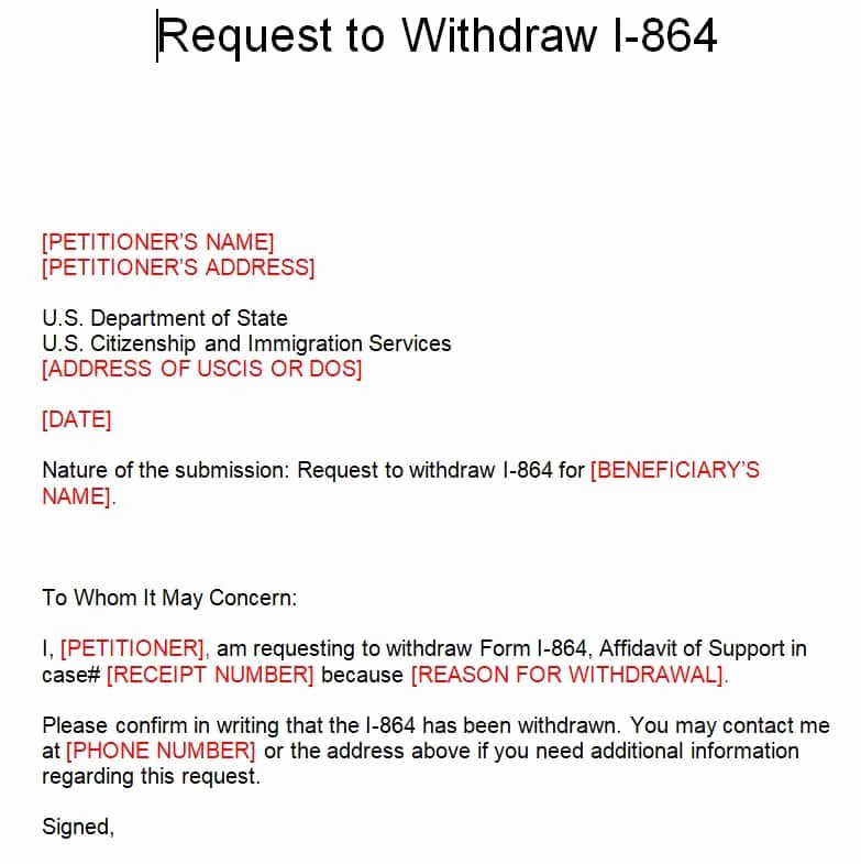 Affidavit Of Support Letter Unique How to withdraw I 864 Affidavit Of Support and Avoid Being