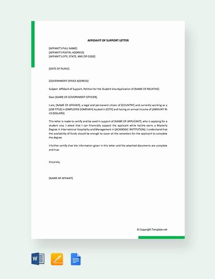 Affidavit Of Support Sample Letter Beautiful 12 Affidavit Samples Doc Pdf