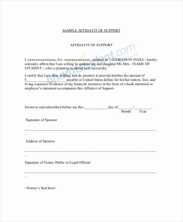 Affidavit Of Support Sample Letter Beautiful 22 Letter Of Support Samples Pdf Doc