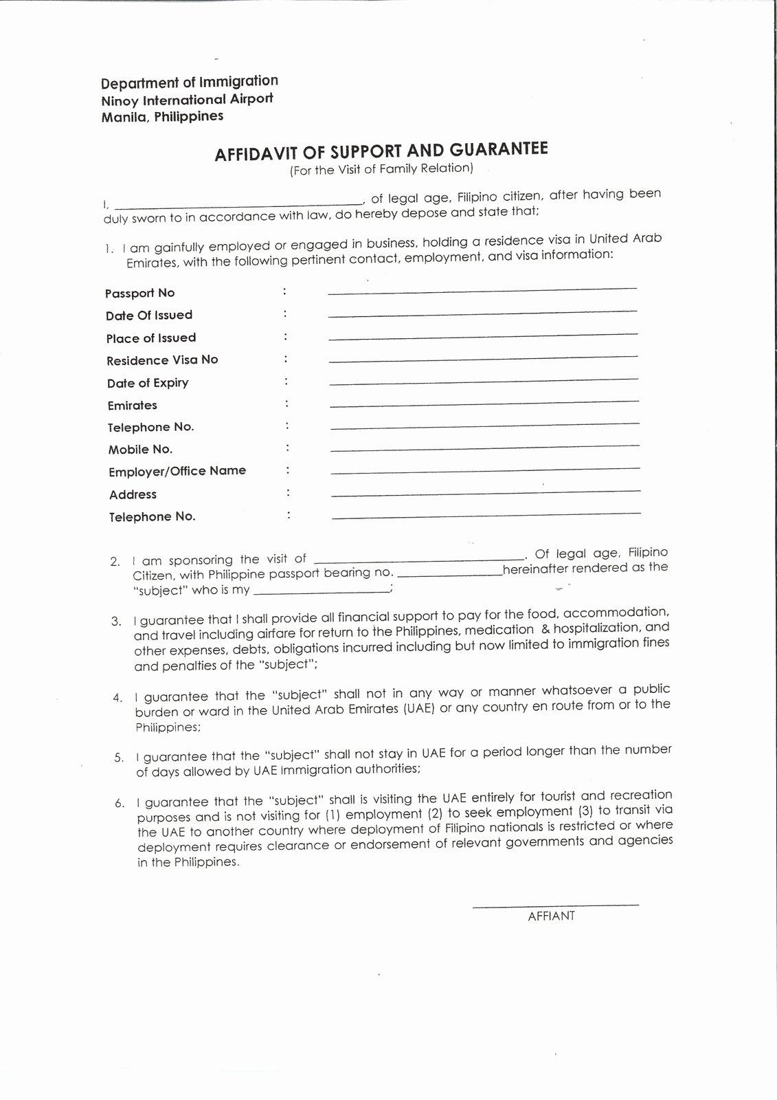 Affidavit Of Support Sample Letter Best Of Affidavit Letter format Example Mughals