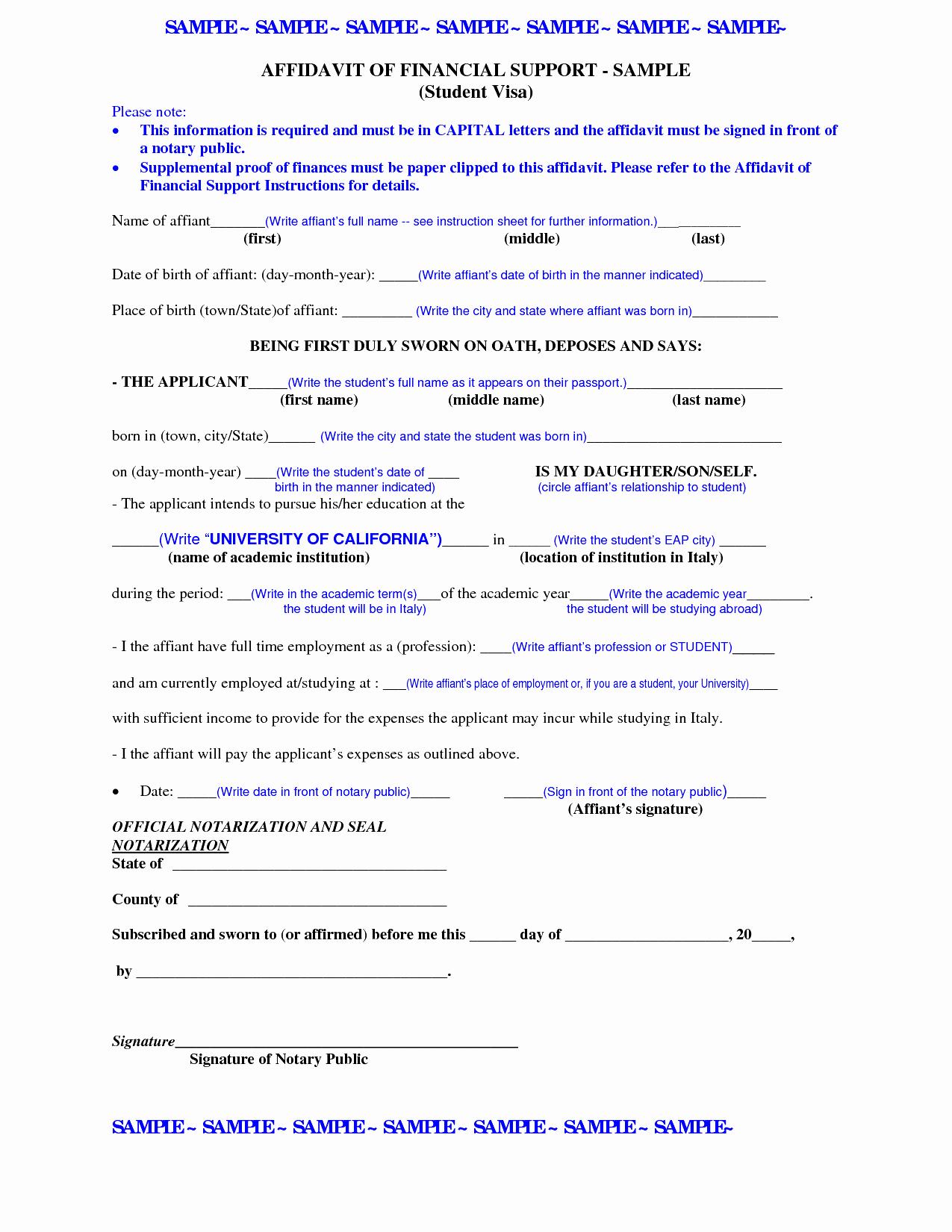 Affidavit Of Support Sample Letter Elegant Affidavit Support Letter Template Letter Mughals