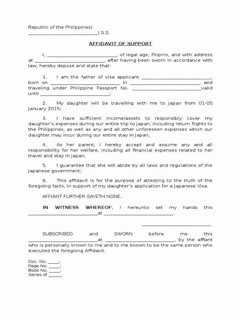 Affidavit Of Support Sample Letter Luxury Affidavit Of Support Philippines