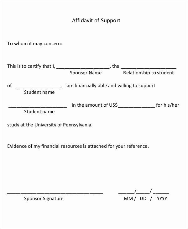 Affidavit Of Support Sample Letter Pdf Awesome 22 Letter Of Support Samples Pdf Doc