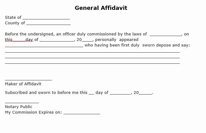 Affidavit Of Support Sample Letter Pdf Beautiful Free Download Simple Template Of General Affidavit form