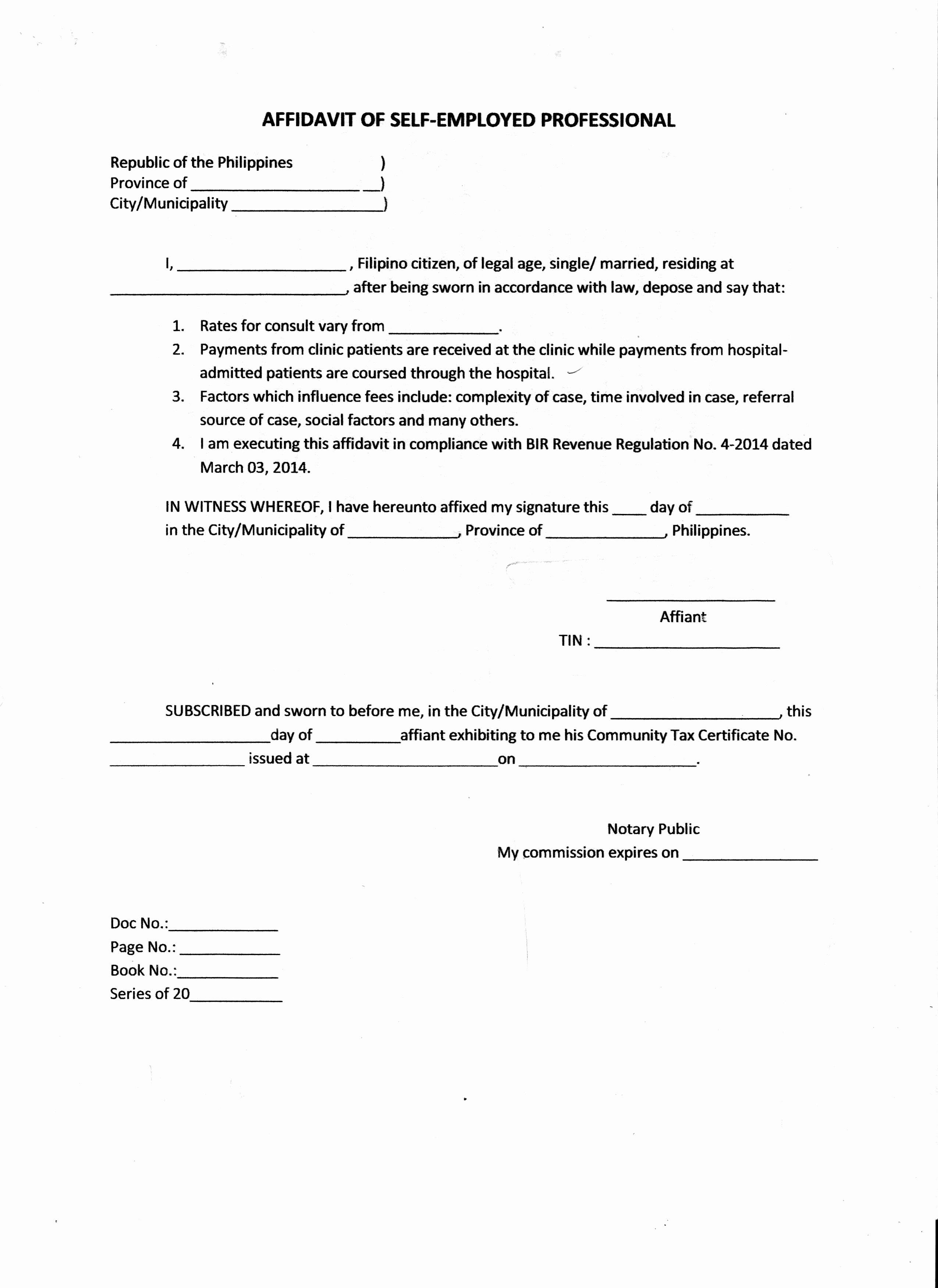 Affidavit Of Support Sample Letter Pdf Best Of Brilliant Affidavit Of Self Employed Professional Sample