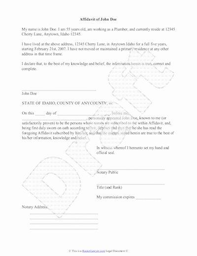 Affidavit Of Support Sample Letter Pdf Elegant Sample Affidavit Free Sworn Affidavit Letter Template