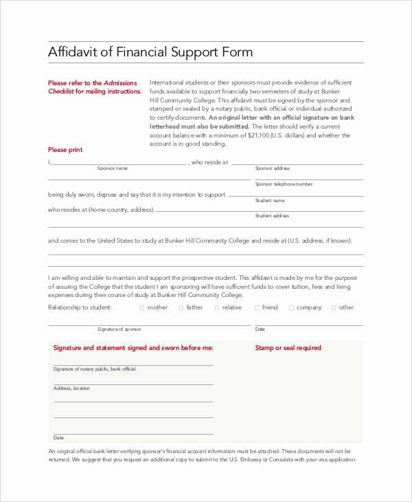 Affidavit Of Support Sample Letter Pdf Inspirational 10 Affidavit Of Support Samples and Templates Pdf Word