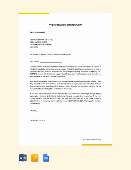 Affidavit Of Support Sample Letter Pdf Inspirational 12 Sample Affidavit Of Support Letters Pdf