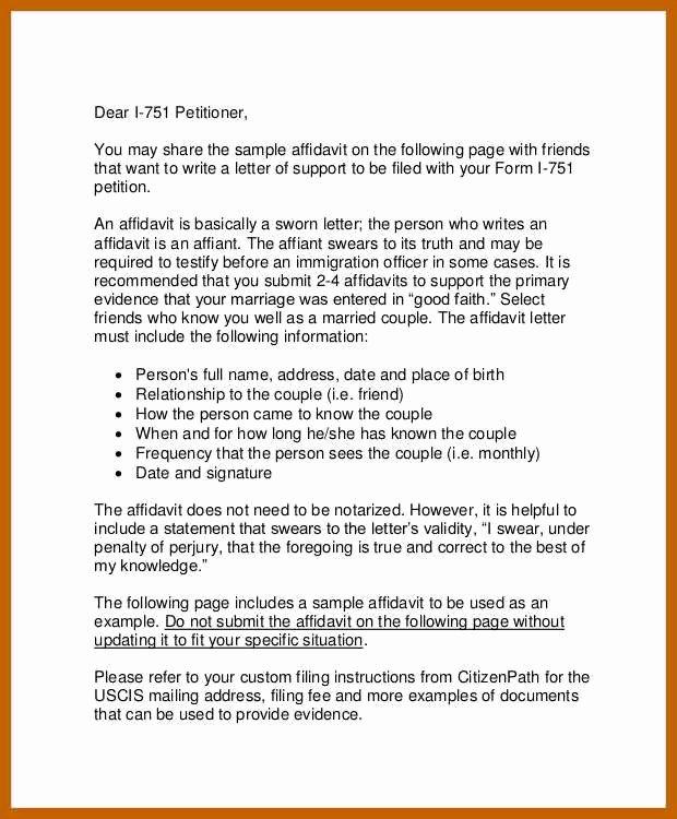 Affidavit Of Support Sample Letter Pdf Lovely 5 6 Examples Of Affidavits