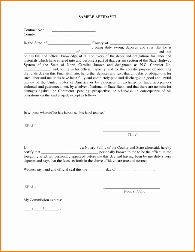 Affidavit Of Support Sample Letter Pdf Luxury 33 Printable Affidavit form Template Examples Thogati