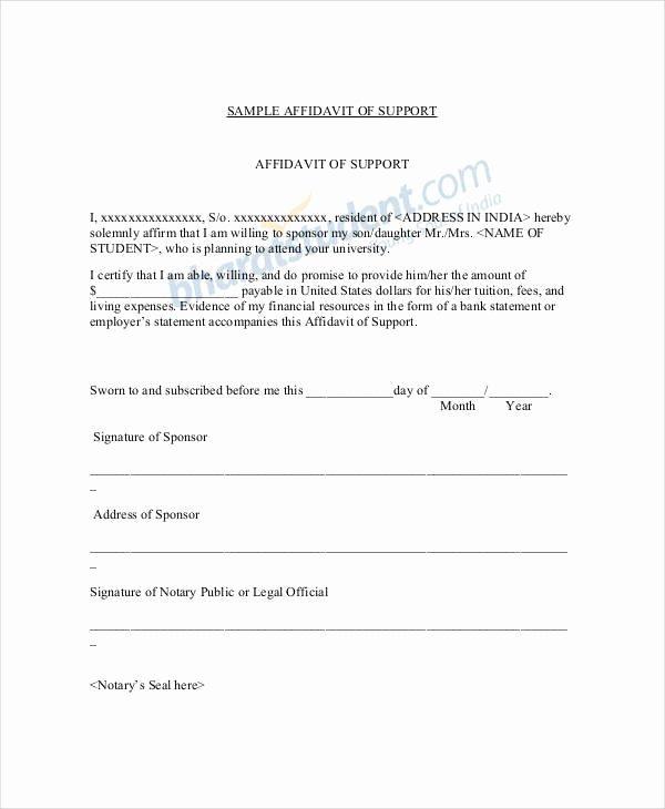 Affidavit Of Support Template Letter Elegant 22 Letter Of Support Samples Pdf Doc