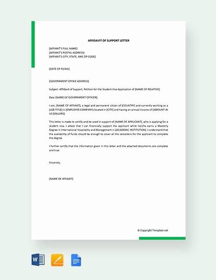 Affidavit Of Support Template Letter Fresh 12 Affidavit Samples Doc Pdf