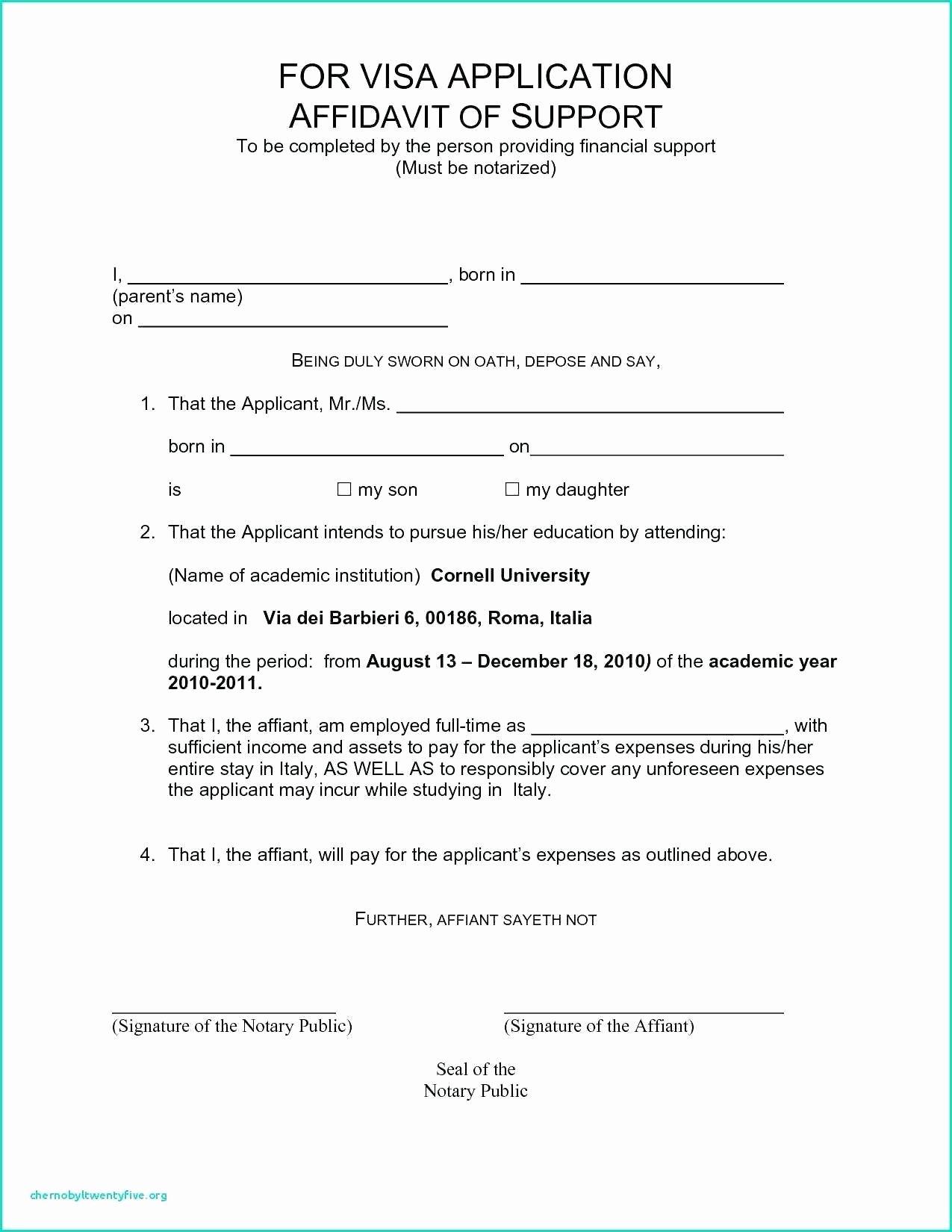 Affidavit Of Support Template Letter Lovely Example A Sworn Affidavit Counter Affidavit Sample
