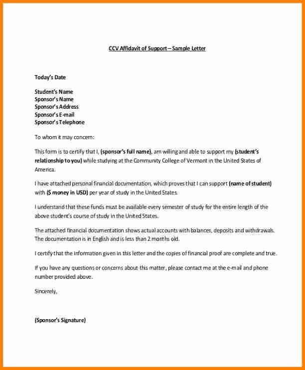 Affidavit Of Support Template Letter Luxury 5 Example Of Affidavit