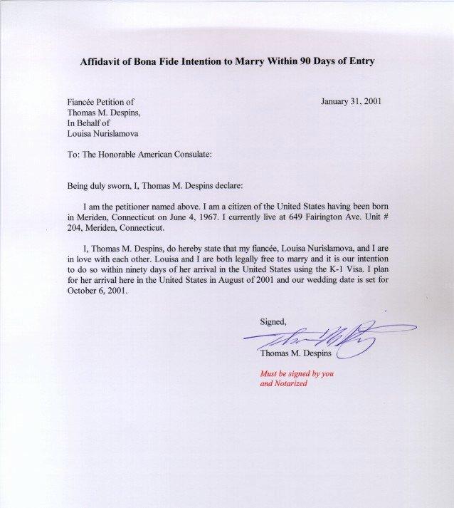 Affidavit Of Support Template Letter New K 1 Visa