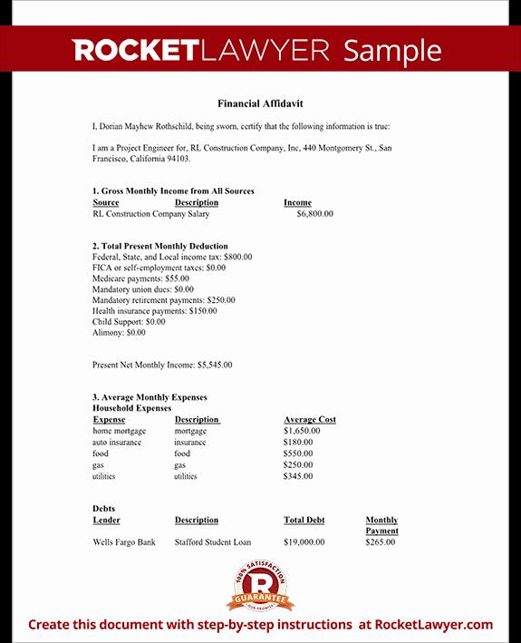 Affidavit Of Support Template Letter Unique Financial Affidavit form Financial Disclosure Affidavit