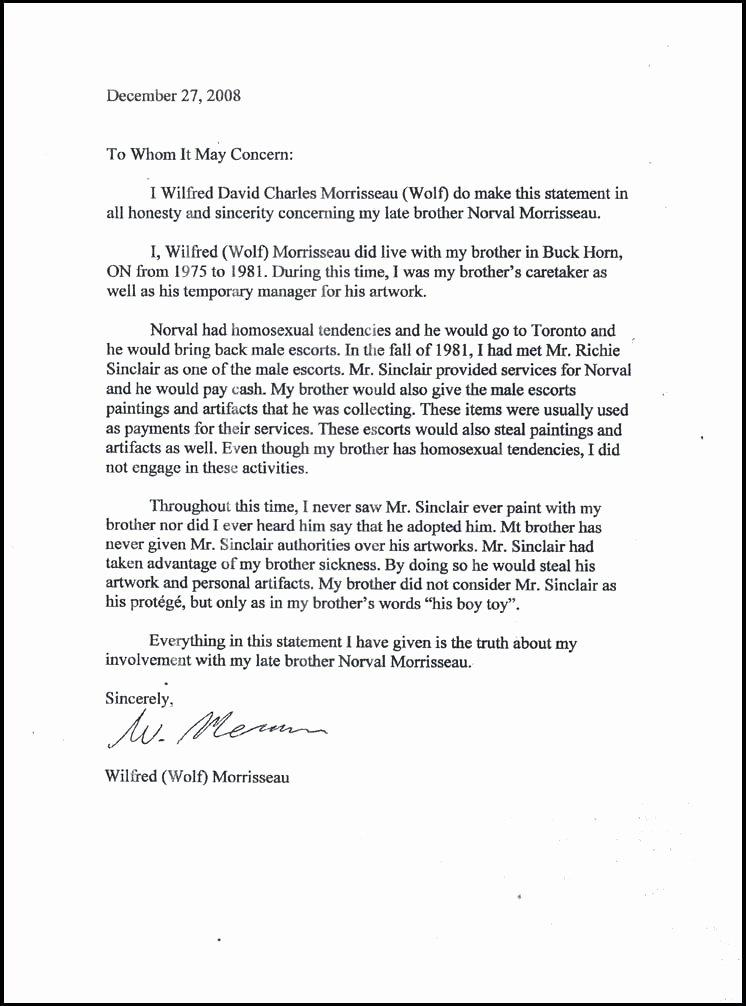 14 affidavit of relationship sample letter