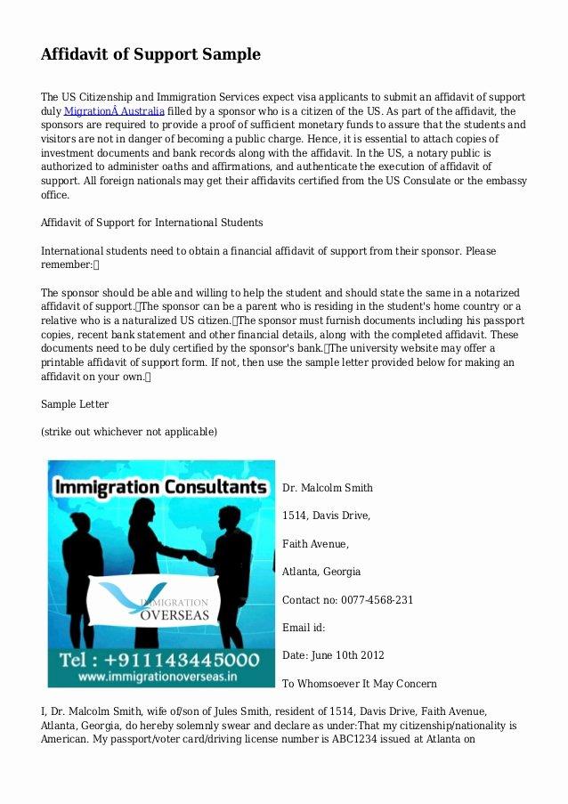 Affidavit Support Letter Awesome Affidavit Of Support Sample