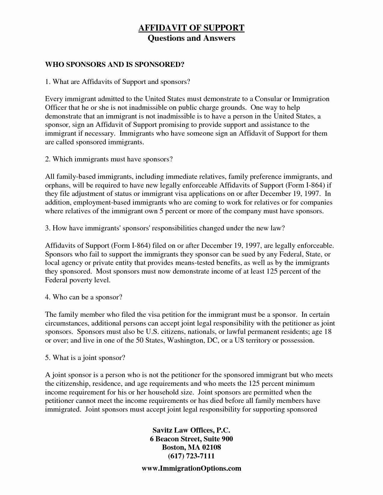 Affidavit Support Letter Beautiful Best S Of Affidavit Support Template Affidavit