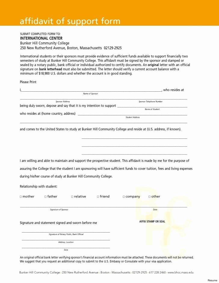 Affidavit Support Letter Luxury Letter Affidavit Sample for Immigration Support