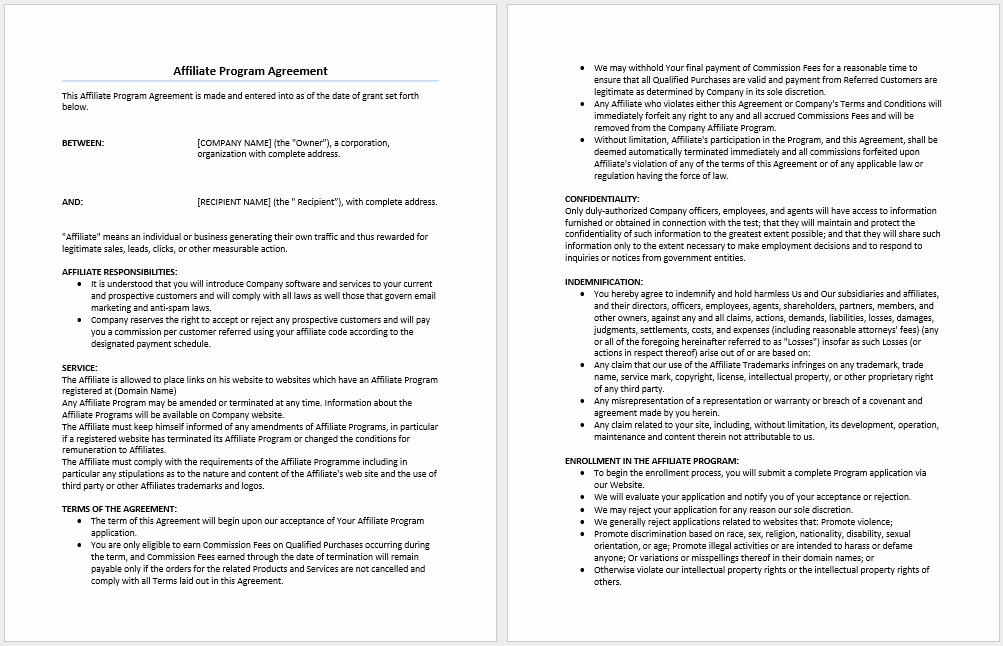 Affiliate Partnership Agreement Template Awesome Affiliate Program Agreement Template Microsoft Word