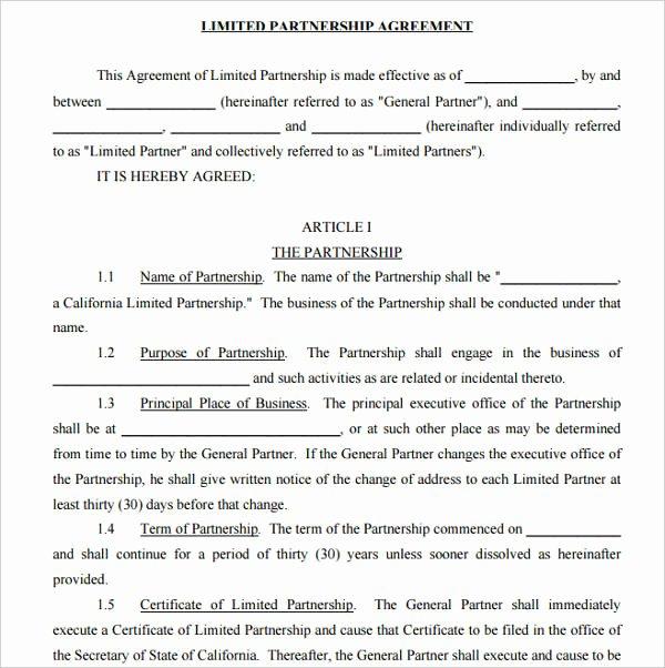 Affiliate Partnership Agreement Template Beautiful 9 Limited Partnership Agreement Templates Pdf