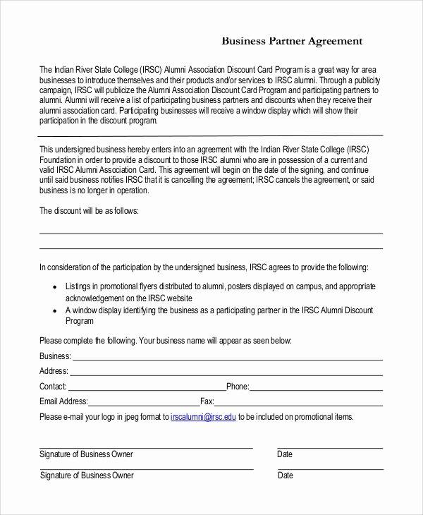 Affiliate Partnership Agreement Template Best Of 7 Sample Business Partnership Agreements Pdf Doc