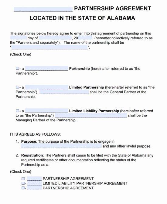 Affiliate Partnership Agreement Template Fresh Free Alabama Partnership Agreement Template Pdf